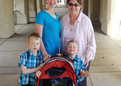 Melinda and Boys touring historical museums with grandma