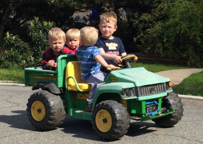 Our boys driving around with cousins!