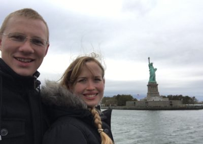 Russel and Melinda visiting the Statue of Liberty