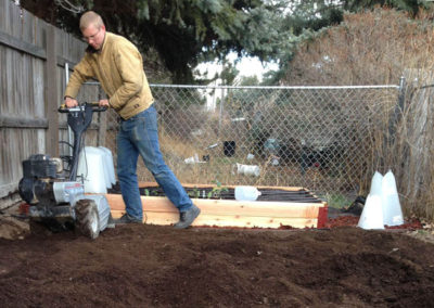 Russel tilling our garden! Yay!